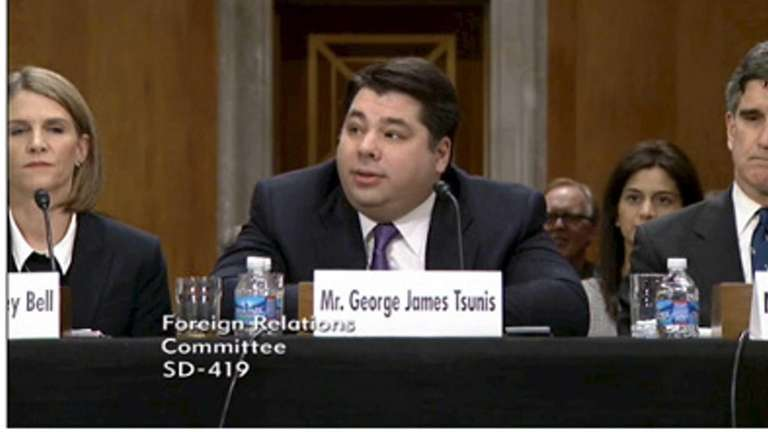 George James Tsunis during his Senate confirmation hearing