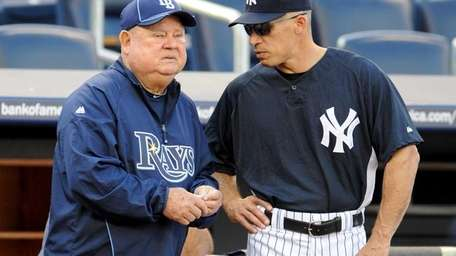 Tampa Bay Rays coach Don Zimmer, left, and