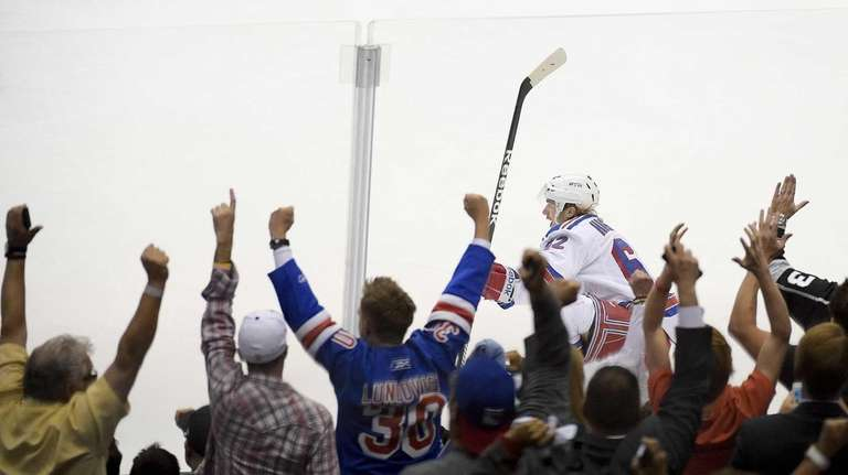 Rangers left wing Carl Hagelin celebrates his goal