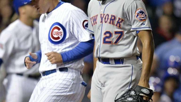 Relief pitcher Jeurys Familia of the Mets reacts