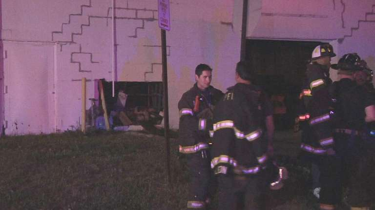 Firefighters at the scene of an accident at
