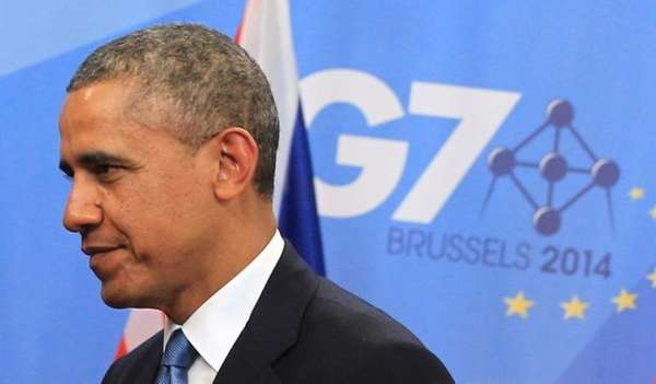President Barack Obama arrives for a G-7 summit