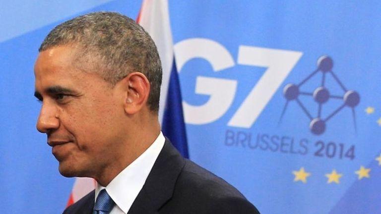 President Barack Obama arrives for a G-7 summit