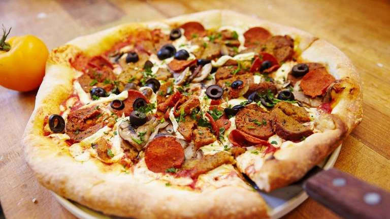 A vegan pizza with