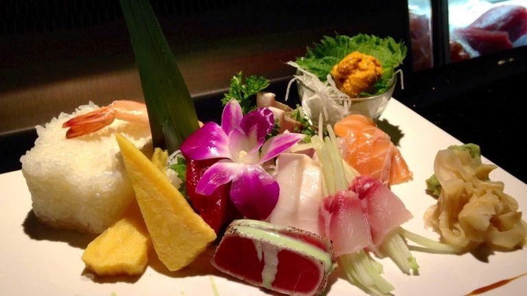 The chirashi is elaborately arranged at Kobe Hibachi