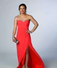 Newsday readers picked this fiery coral one-shoulder gown
