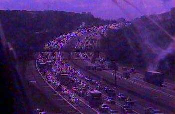 A traffic camera shows traffic backed up on