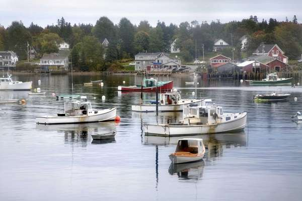 Fishing boats at rest in the calm of