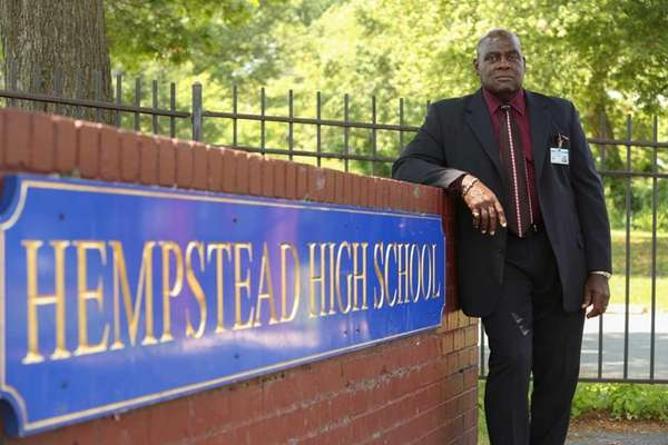 Hempstead High School principal Reginald Stroughn outside the