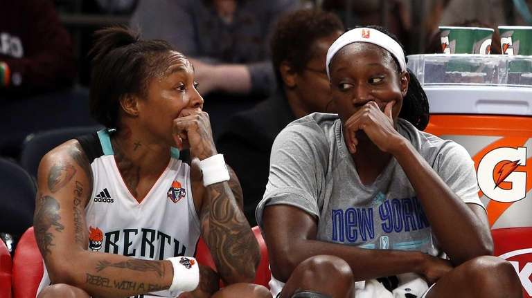 The Liberty's Cappie Pondexter, left, and Tina Charles