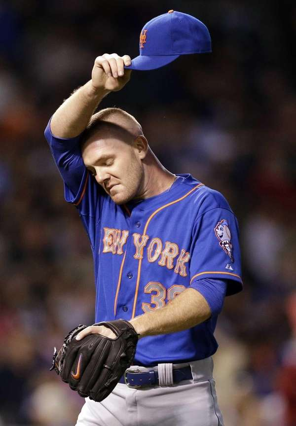 Mets relief pitcher Vic Black reacts as he