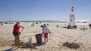 Lifeguards at Indian Wells Beach in Amagansett clear