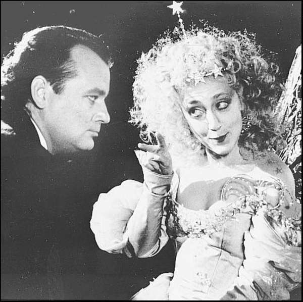 "Carol Kane in ""Scrooged"" (1988) with Bill Murray."