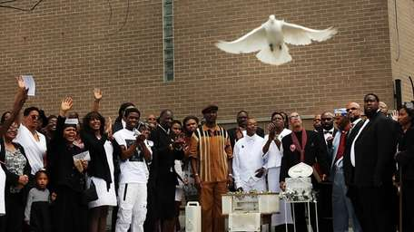 White doves are released at the conclusion of