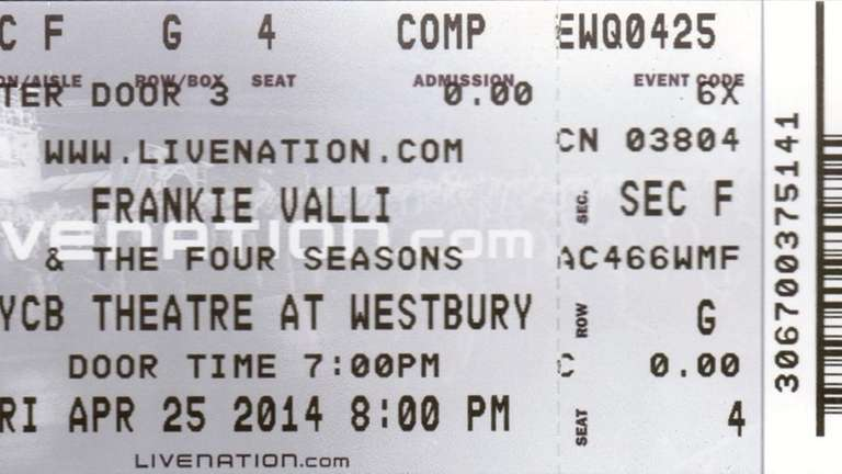 The stub of Brian Stoll's ticket to see