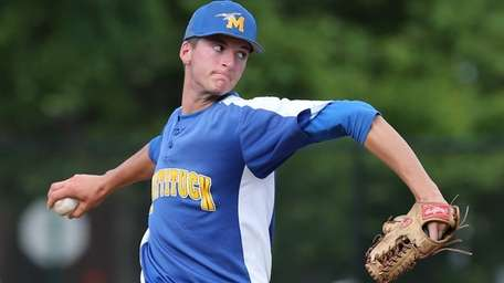 Mattituck's Cameron Burt pitches against Wheatley in the