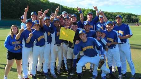 Mattituck celebrates their victory over Wheatley in the