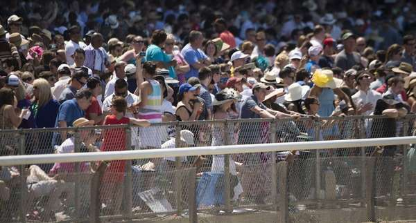 Crowds watch the races at the 146th running