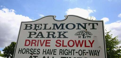 A sign is seen at Belmont Park on
