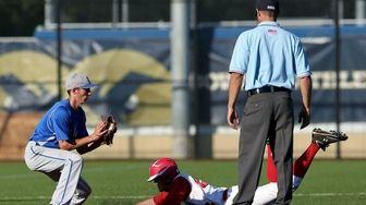 Pierson/Bridgehampton's Tim Markowski is safe at second base