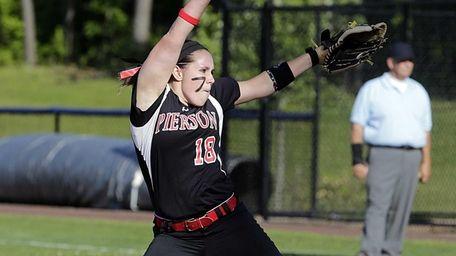 Pierson/Bridgehampton starting pitcher Samantha Duchemin delivers in the