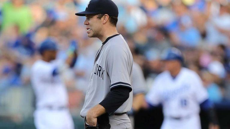 David Phelps of the New York Yankees walks