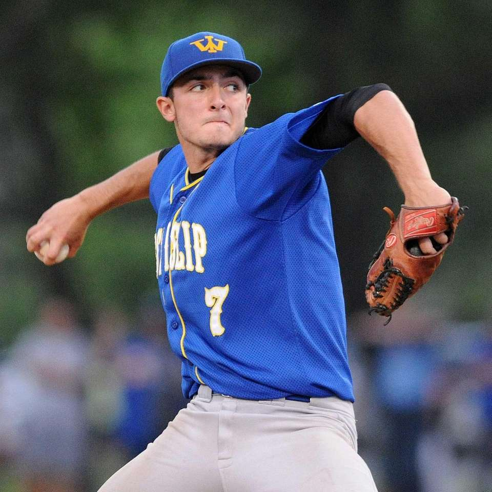 West Islip pitcher Nick Arnold delivers to the