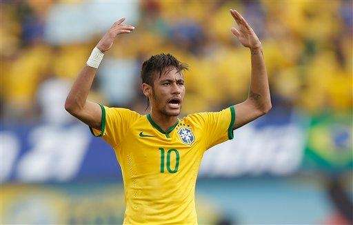 Brazil's Neymar celebrates after scoring against Panama during