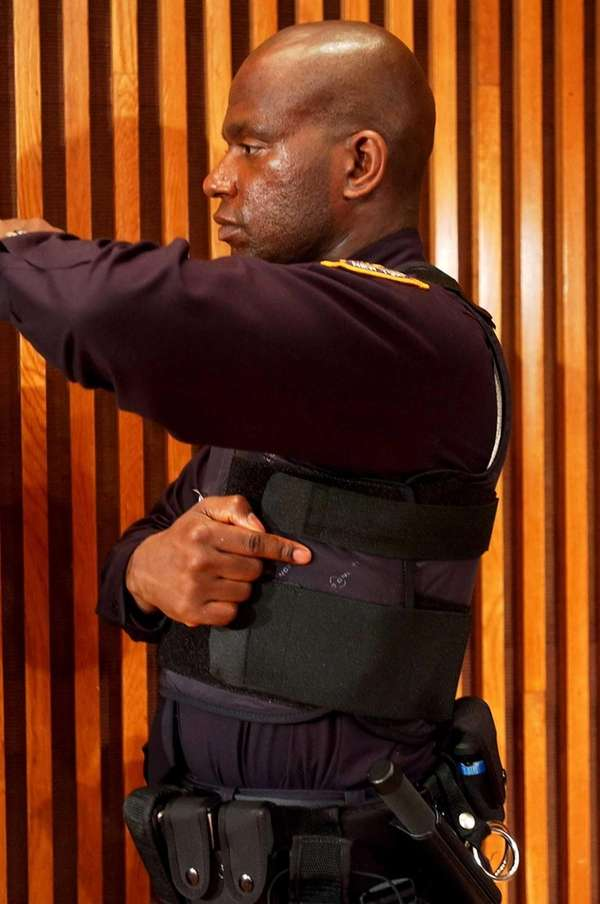 New York City Police Officer Jorbin Charles models