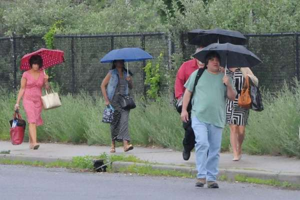 Commuters walking to the Long Island Rail Road