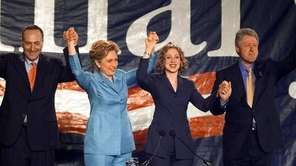 The Clintons and Chuck Schumer at Hillary's victory