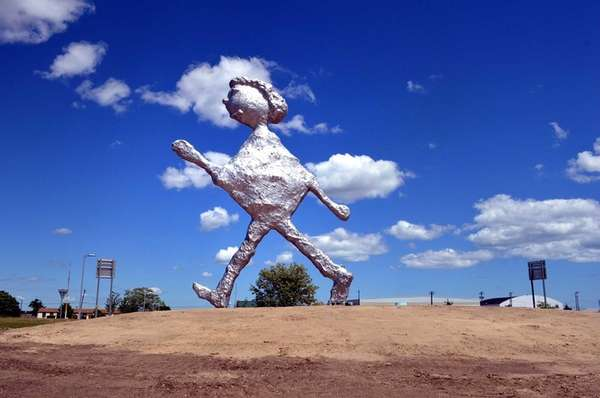 A 30-foot-tall aluminum statue has appeared at Francis