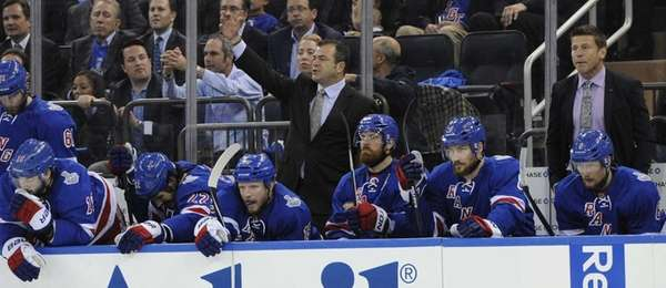 New York Rangers head coach Alain Vigneault reacts