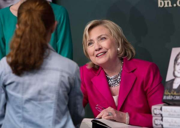 Hillary Clinton signed books and spoke to supporters