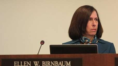 Nassau Legis. Ellen Birnbaum sits at her seat