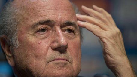 FIFA President Sepp Blatter looks on during a
