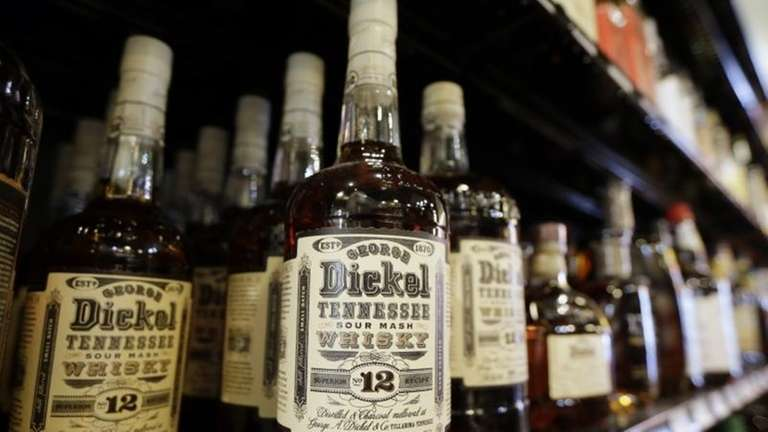 Bottles of George Dickel Tennessee whiskey are displayed