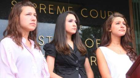 From left, Gabrielle D'Annunzio stands with her sisters,