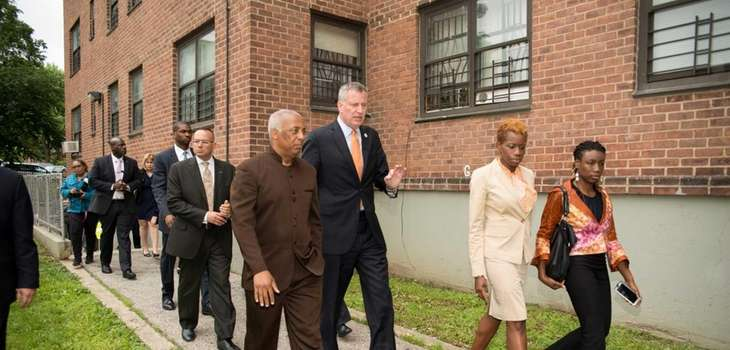 Mayor Bill de Blasio and other officials visit