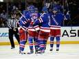 Benoit Pouliot of the Rangers celebrates his goal