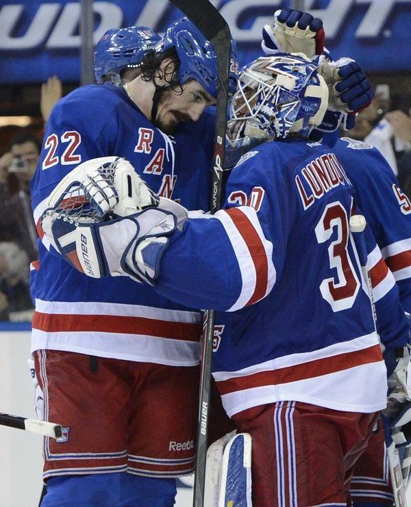 Rangers center Brian Boyle and goalie Henrik Lundqvist