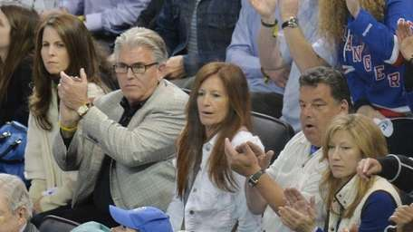 WFAN broadcaster Mike Francesa, second from left, and