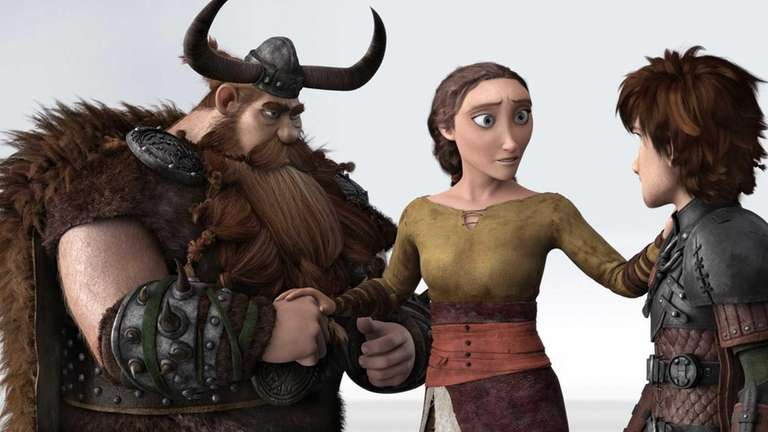 Characters, from left, Stoick, voiced by Gerard Butler,