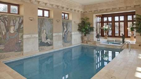Mosaic tile murals decorate the heated indoor pool