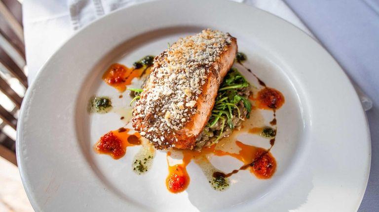 Pan-roasted Scottish salmon with broccoli raab and roasted