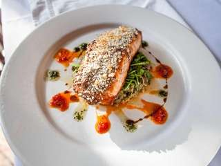 Pan-roasted Scottish salmon with broccoli raab and roasted