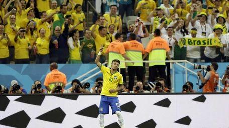 Brazil's Neymar celebrates his second goal on a
