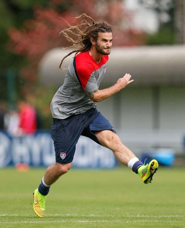 f9394e942 ... Kyle Beckerman of the United States runs drills during a training  session at Sao Paulo FC 2014 World Cup Croatia Home Soccer Jersey ...