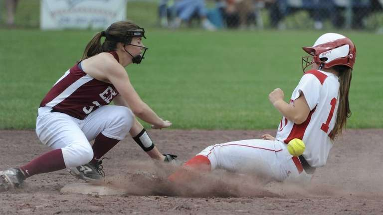 Center Moriches' Megan Ricci slides safely into second