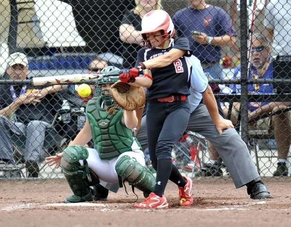 Pierson/Bridgehampton's Calista Cafiero gets a hit against Greenwich